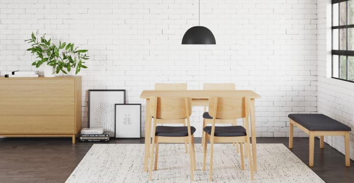 Mokuzai Dining Table & 4 Mokuzai Dining Chair & 1 Mokuzai Dining Bench Set