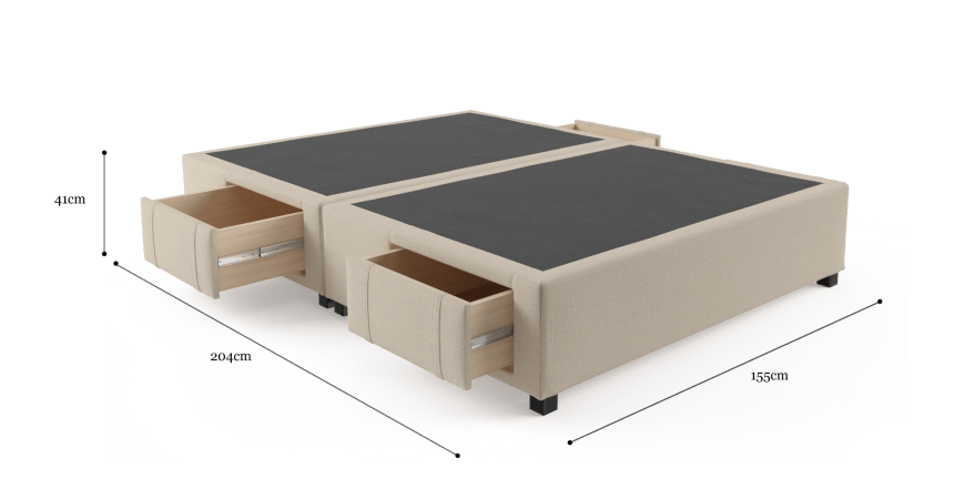 Queen Size Upholstered Bed Frame Base with Drawers