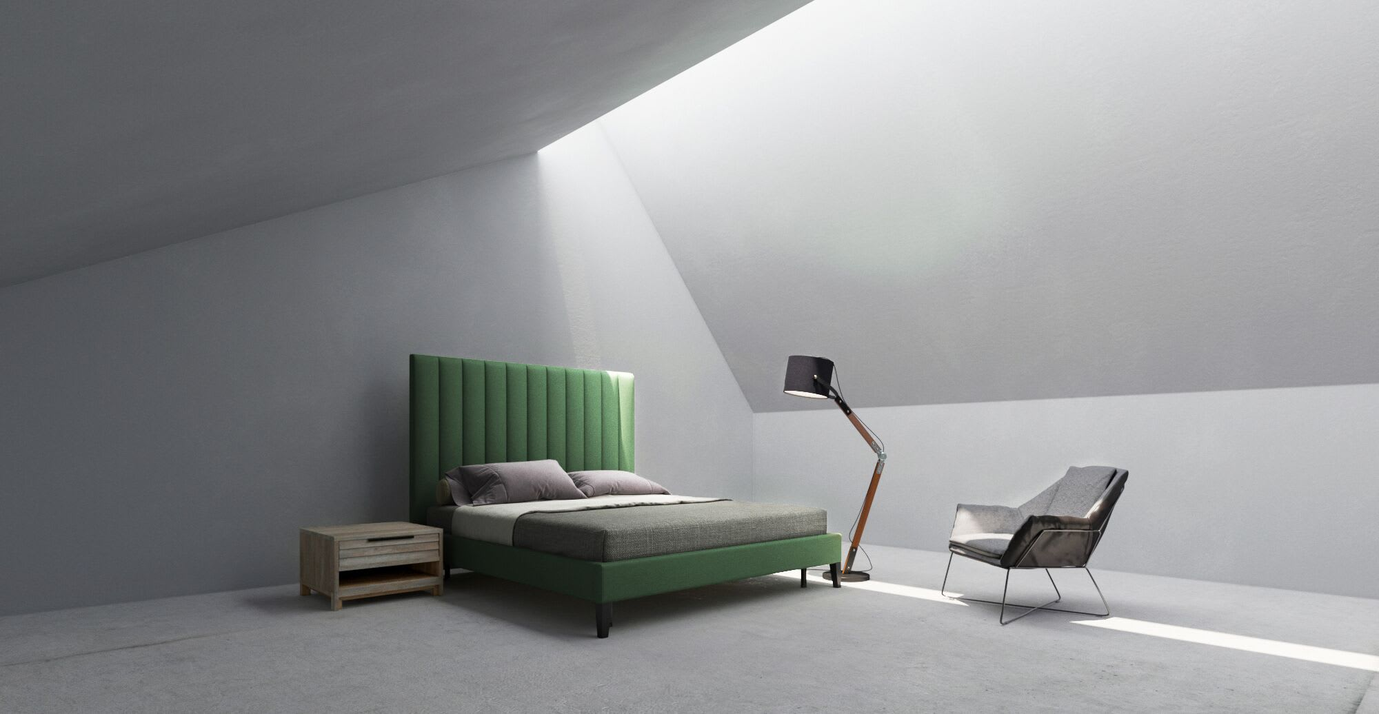 A green bed in a designed space