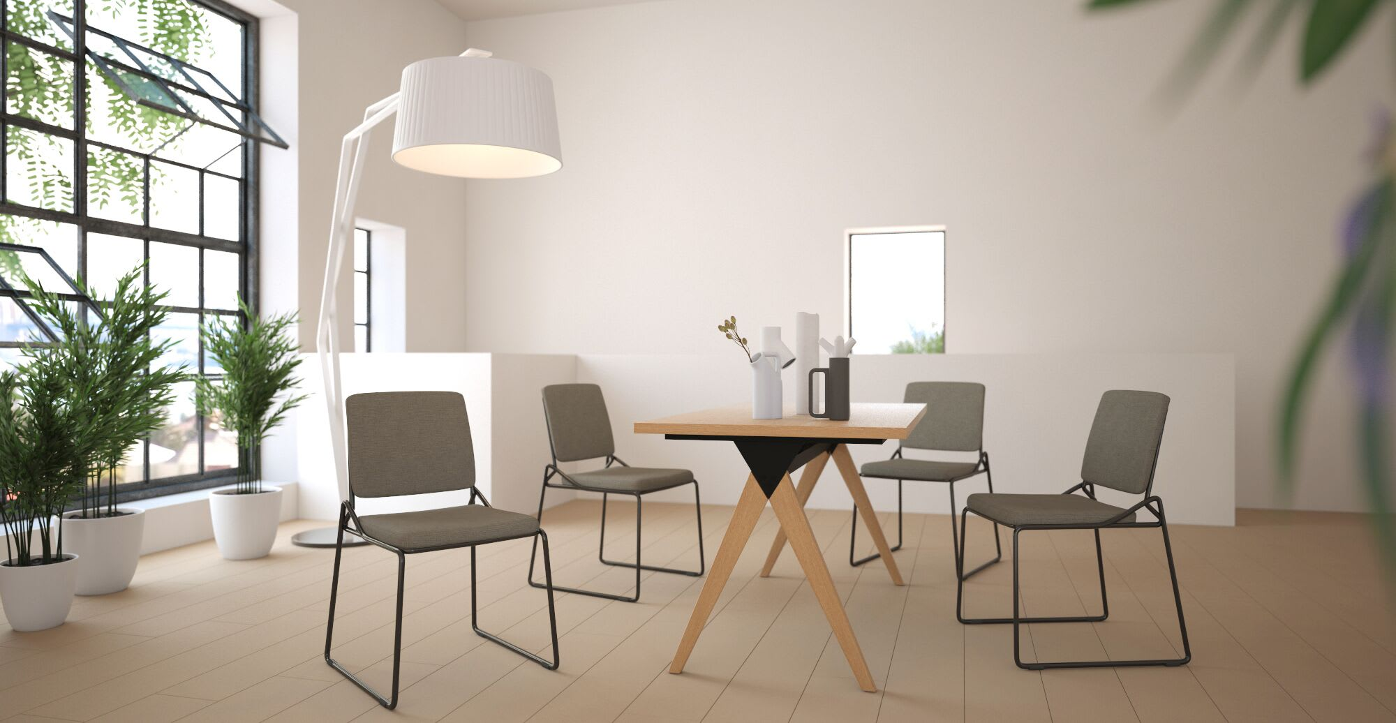 A minimal dining set in a designed space