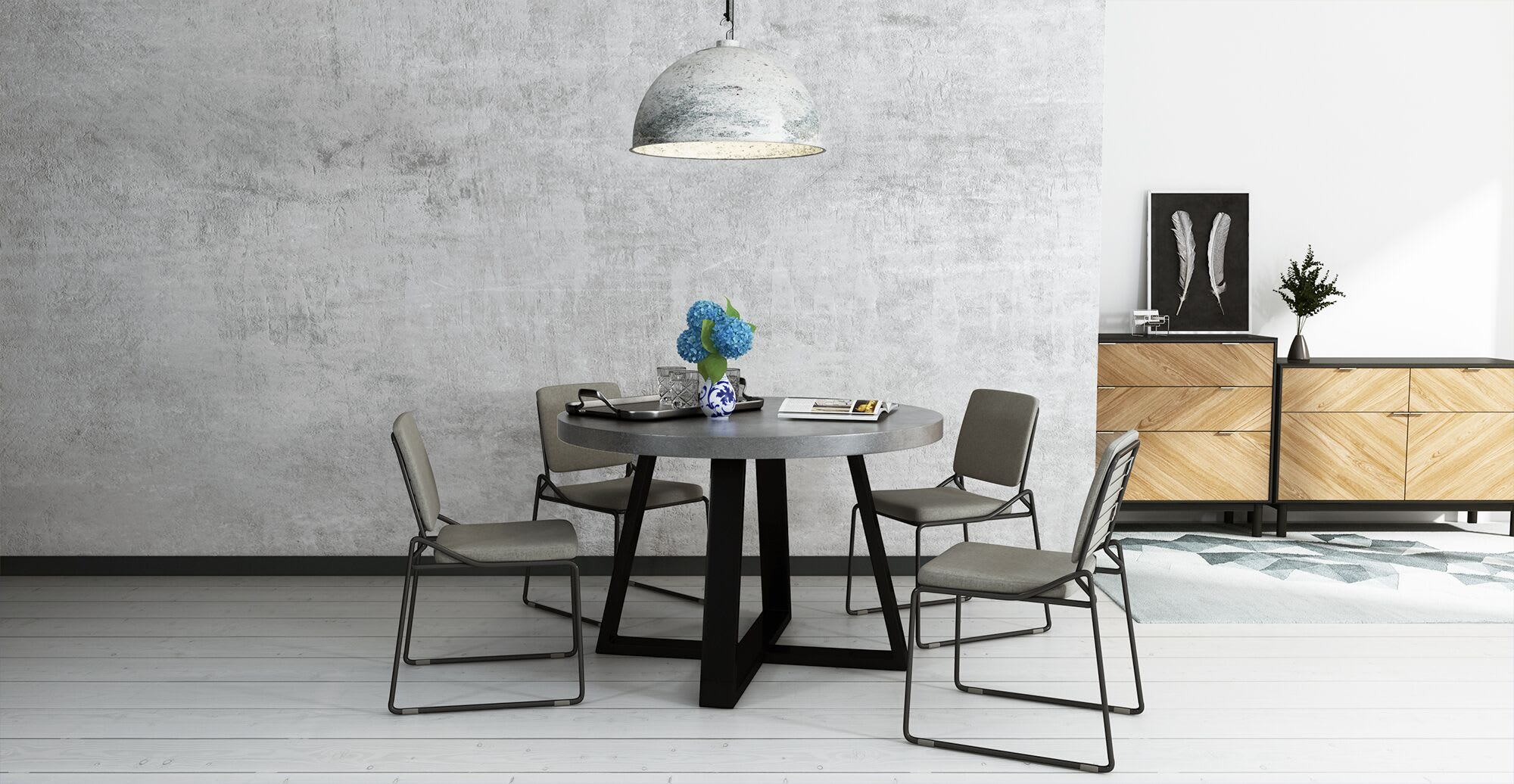 multiple pieces of designer furniture in a dining room