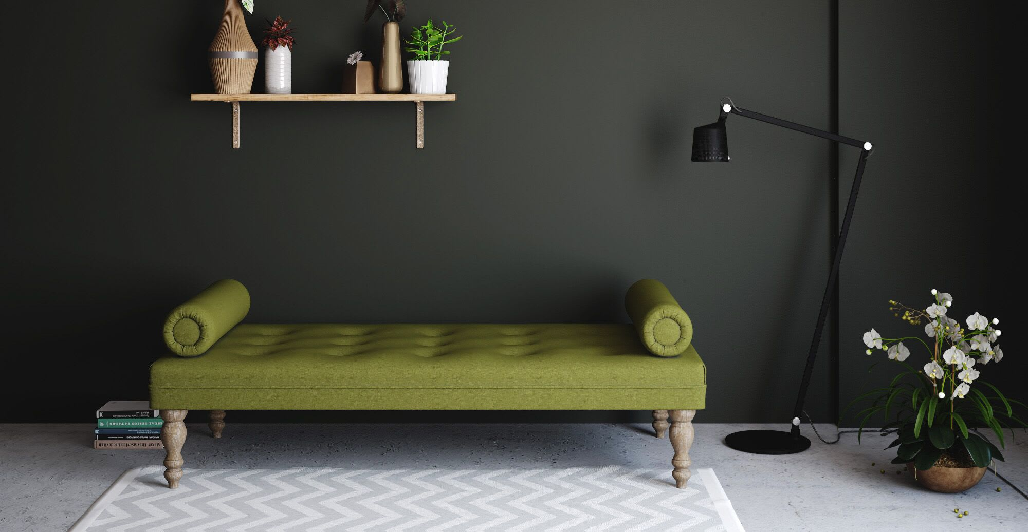 a green daybed in a designer living room