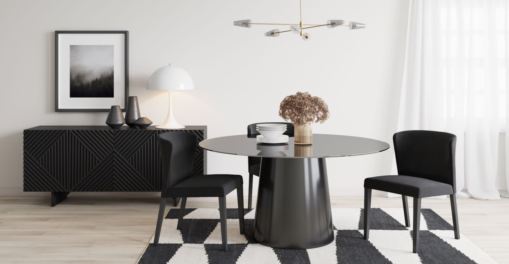 A round dining table in a designed space