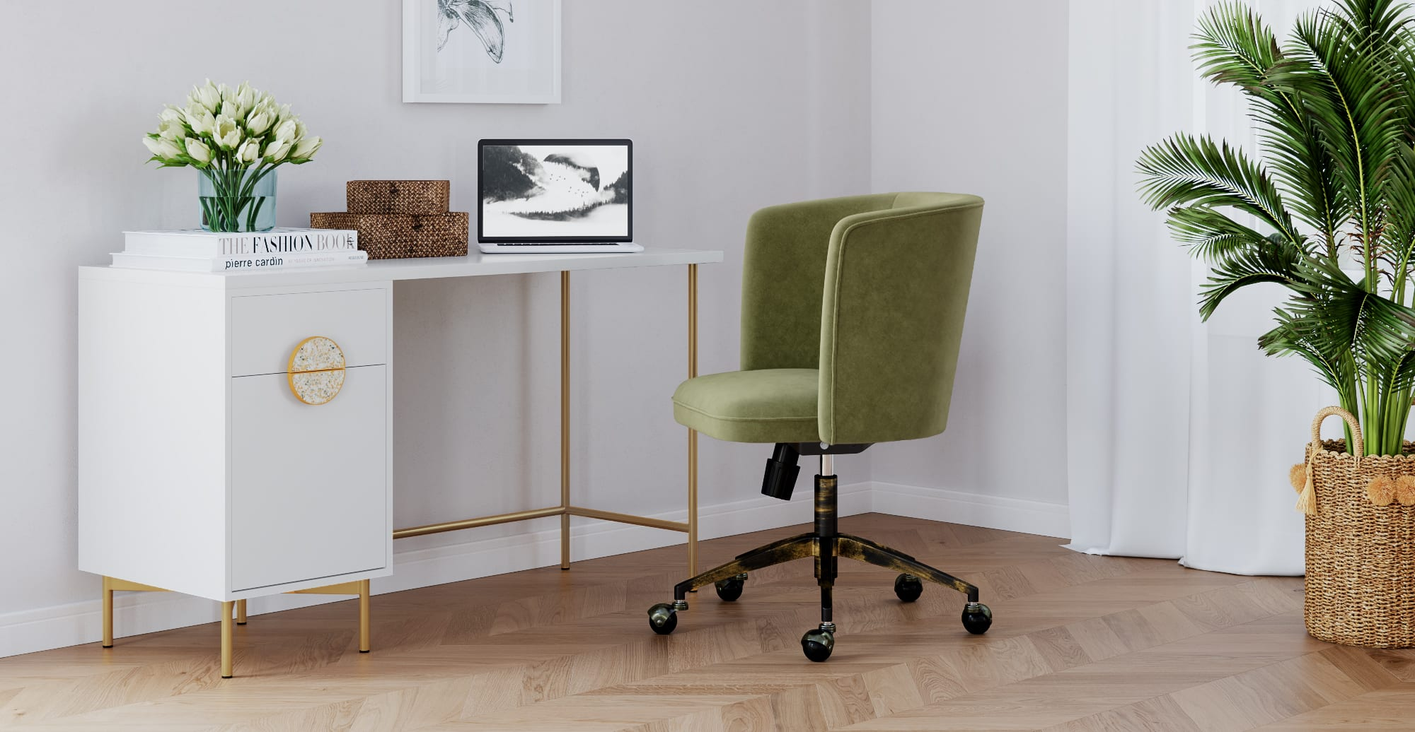Greta Desk with Drawers in Modern Contemporary Style Home Office