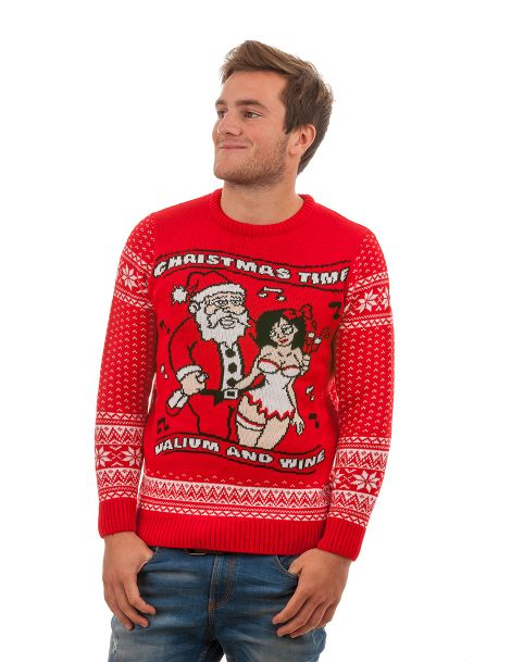 Tacky 'Valium and Wine' Christmas Sweater For Men - Front View