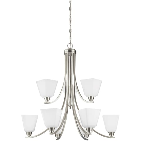 Parkfield Nine Light Chandelier Brushed Nickel