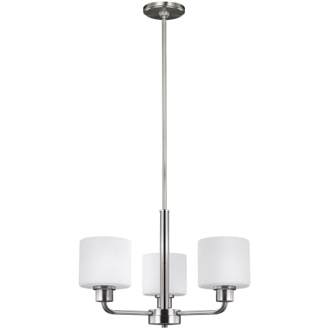 Canfield Three Light Chandelier Brushed Nickel Bulbs Inc