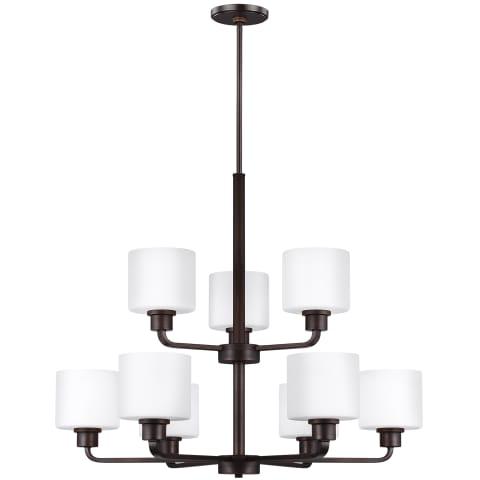 Canfield Nine Light Chandelier Bronze Bulbs Inc