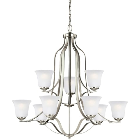 Emmons Nine Light Chandelier Brushed Nickel Bulbs Inc