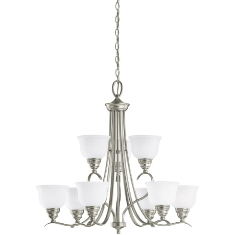 Wheaton Nine Light Chandelier Brushed Nickel Bulbs Inc