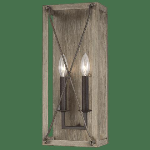 Thornwood Two Light Wall / Bath Sconce Washed Pine Bulbs Inc