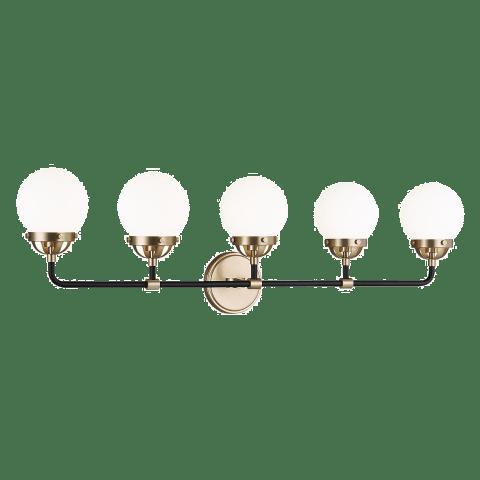 Cafe Five Light Wall / Bath Satin Brass Bulbs Inc
