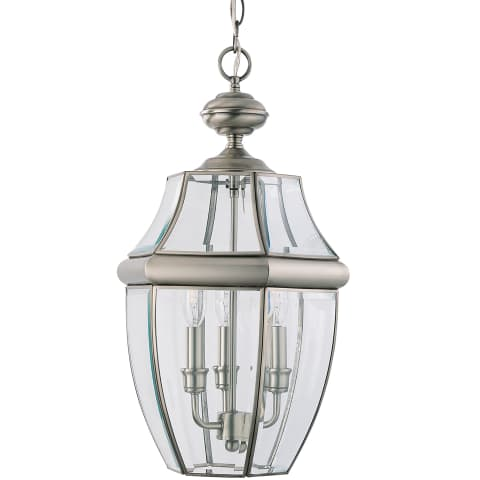 Lancaster Three Light Outdoor Pendant Antique Brushed Nickel
