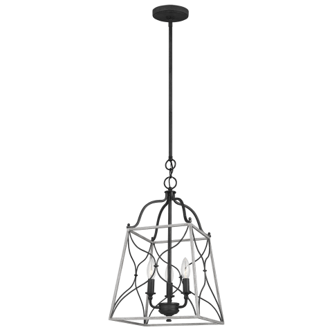 Carra Small Three Light Hall / Foyer Weathered Zinc Bulbs Inc
