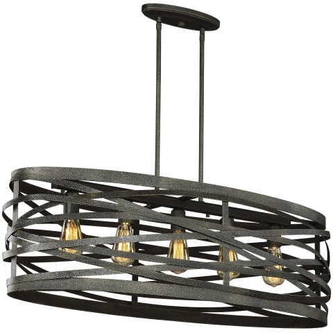 Cowen Five Light Island Pendant Obsidian Mist