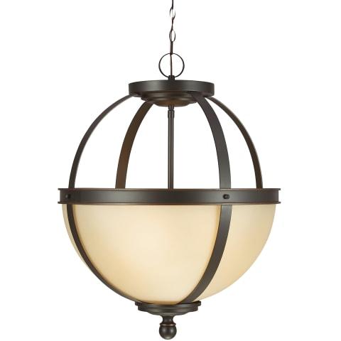 Sfera Three Light Pendant Autumn Bronze Bulbs Inc