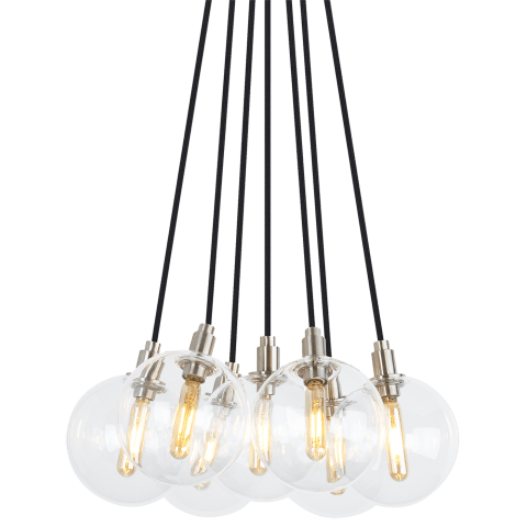 Gambit 7-Light Chandelier 7-LITE CHANDELIER Clear satin nickel 2700K 90 CRI led 90 cri 2700k 120v (t20/t24)
