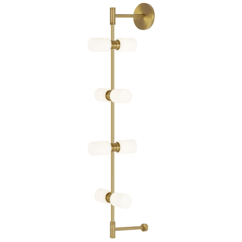 ModernRail Wall Glass Cylinders aged brass 3000K 90 CRI 24v remote canopy (t24)