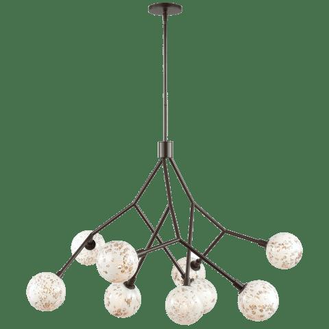 Malena 9 Chandelier Pearl Bubble antique bronze no lamp