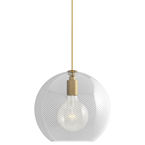 Palestra Medium Pendant Medium Opal/Clear natural brass no lamp