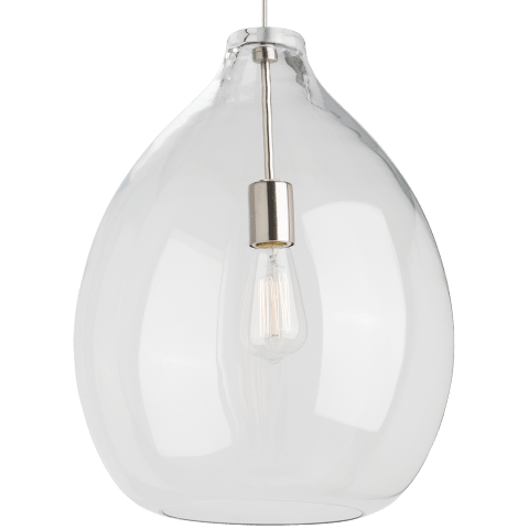 Quinton Pendant Clear satin nickel 2700K 90 CRI st19 led 90 cri 2700k 120v (t24)