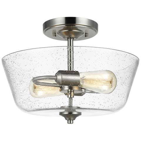 Belton Two Light Ceiling Semi-Flush Mount Brushed Nickel