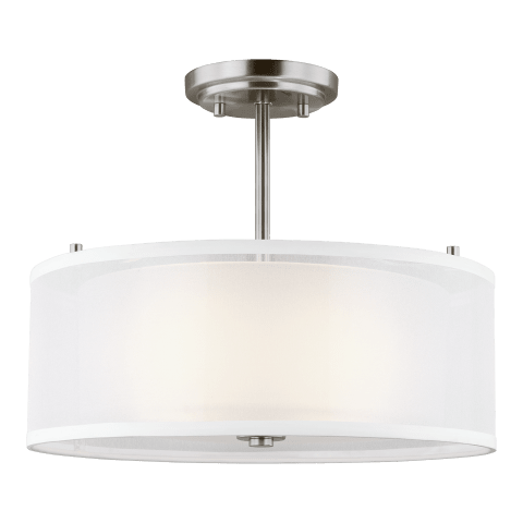 Elmwood Park Two Light Semi-Flush Mount Brushed Nickel Bulbs Inc