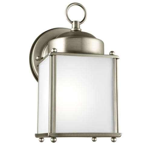 New Castle One Light Outdoor Wall Lantern Antique Brushed Nickel Bulbs Inc