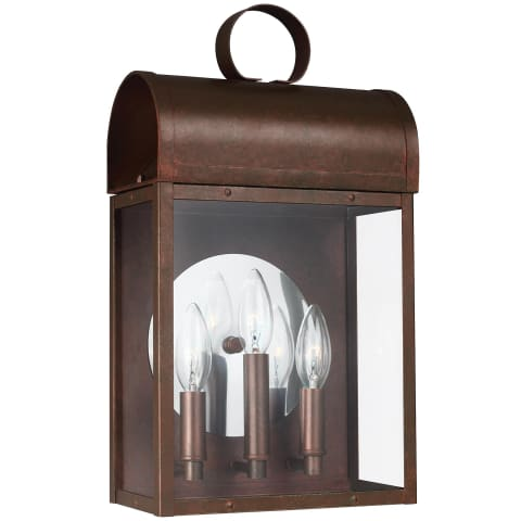Conroe Three Light Outdoor Wall Lantern Weathered Copper