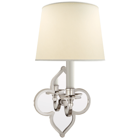 Lana Single Sconce in Polished Nickel and Mirror with Natural Percale Shade