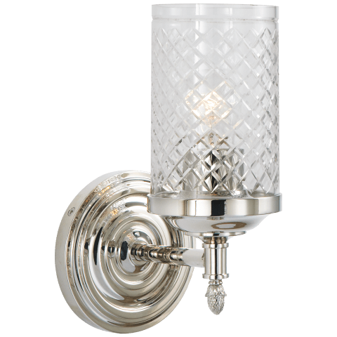 Lita Single Sconce in Polished Nickel with Crystal