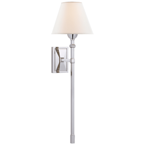 Jane Large Single Tail Sconce in Polished Nickel with Linen Shade