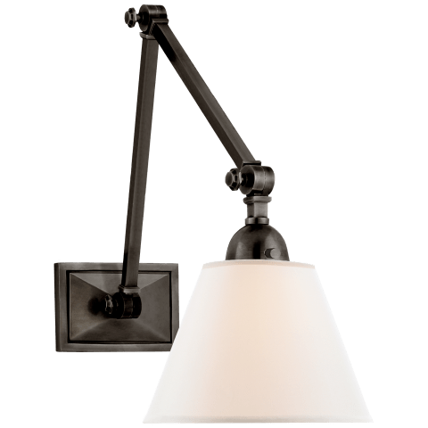 Jane Double Library Wall Light in Gun Metal with Linen Shade
