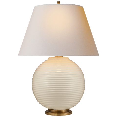 Hugo Table Lamp in Ivory Porcelain with Natural Paper Shade