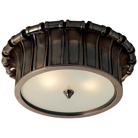 Vivien Flush Mount in Gun Metal with Frosted Glass