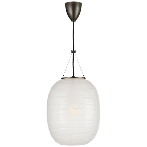 Hailey Medium Oblong Pendant in Bronze with Frosted Glass
