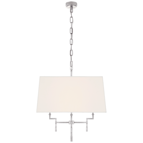Jane Medium Hanging Shade in Polished Nickel with Linen Shade