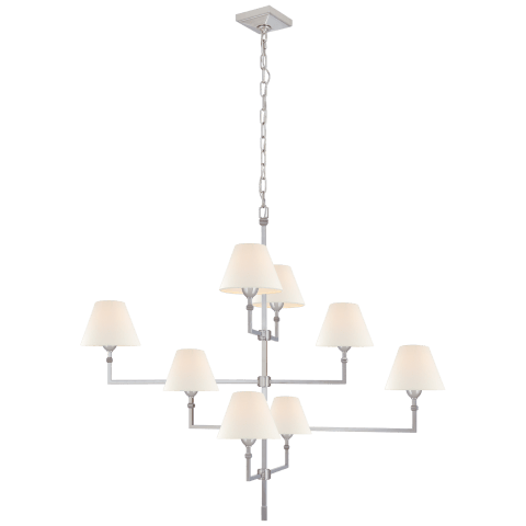 Jane Large Offset Chandelier in Polished Nickel with Linen Shades