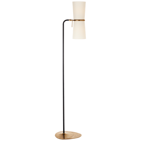 Clarkson Floor Lamp in Black and Hand-Rubbed Antique Brass with Linen Shades