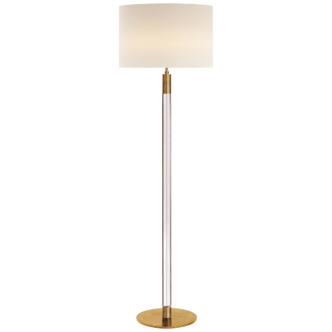 Riga Floor Lamp in Hand-Rubbed Antique Brass and Clear Glass with Linen Shade