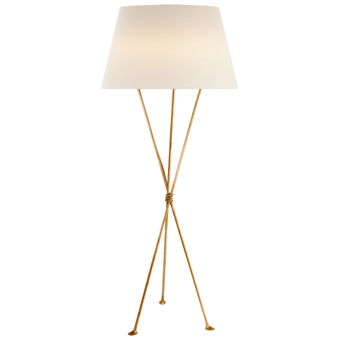 Lebon Floor Lamp in Gild with Linen Shade