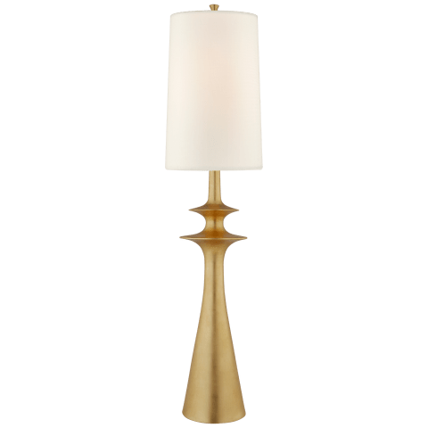 Lakmos Floor Lamp in Gild with Linen Shade