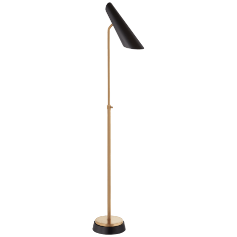 Franca Adjustable Floor Lamp in Hand-Rubbed Antique Brass with Black Shade