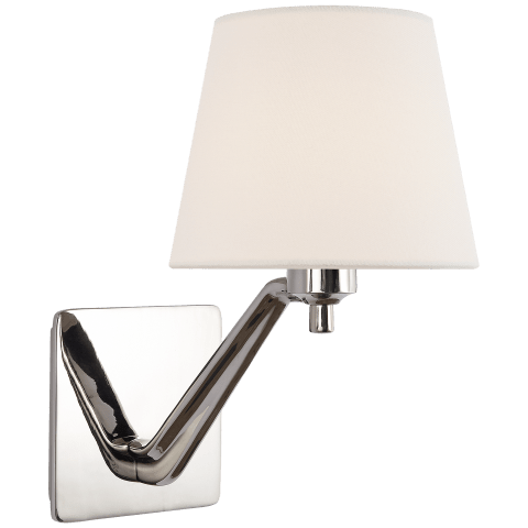 Union Single Arm Sconce in Polished Nickel with Linen Shade