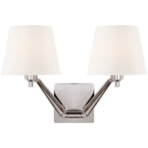 Union Double Arm Sconce in Polished Nickel with White Glass