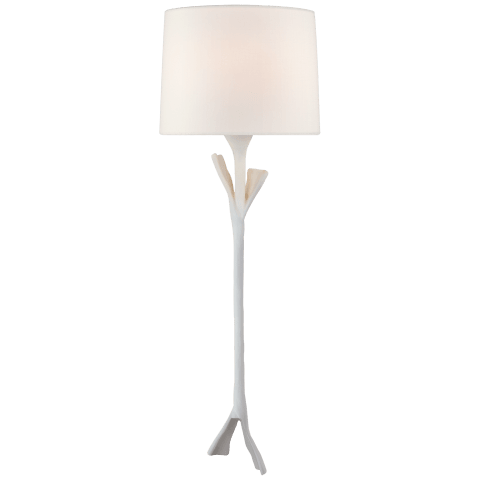 Fliana Tail Sconce in Plaster White with Linen Shade
