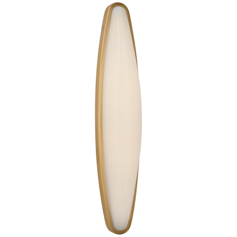 Ezra Large Bath Sconce in Hand-Rubbed Antique Brass with White Glass