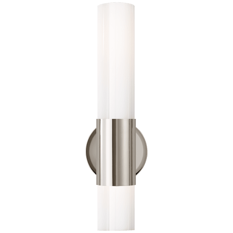 Penz Medium Cylindrical Sconce in Polished Nickel with White Glass