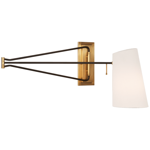 Keil Large Swing Arm Wall Light in Hand-Rubbed Antique Brass and Black with Linen Shade