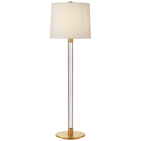 Riga Buffet Lamp in Crystal and Hand-Rubbed Antique Brass with Linen Shade